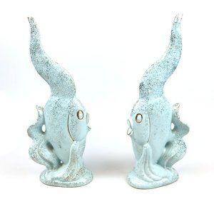 VTG 60s MCM Japan Ceramic Fish Pastel Gold Retro